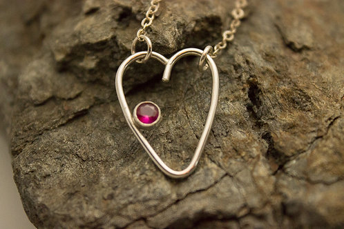 Large Sterling Silver Heart with Lab-created Ruby