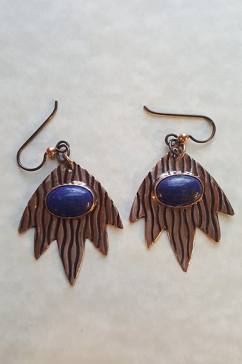 Patterned Copper Blaze with Lapis Lazuli Stones