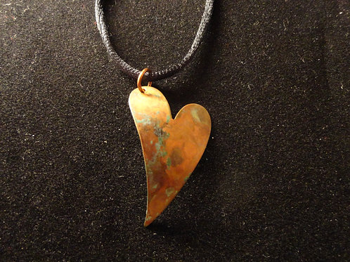 Copper Heart Necklace with Blue-Green Patina