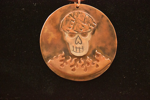 Brass, Copper and Sterling silver Fire Skull