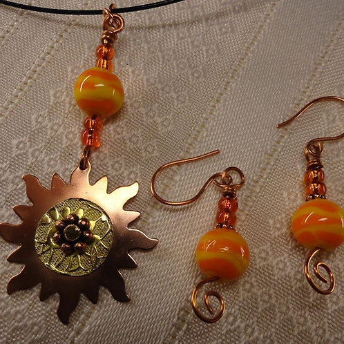 Copper and Brass Sun Necklace and Earring Set