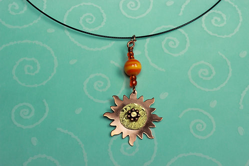 Copper and Brass Sun Necklace