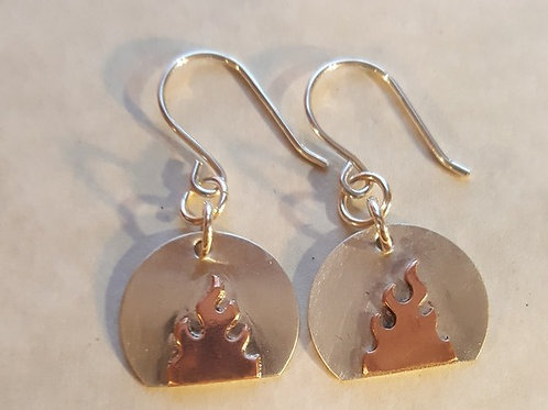 Sterling Silver earrings with Copper Flame