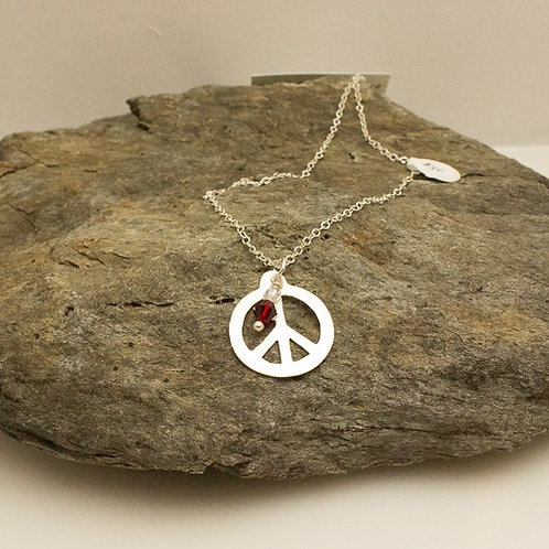 Sterling Silver Peace Symbol with Red Swarovski Crystal