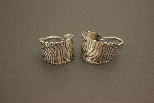 Scalloped Edge Sterling Silver Hoop Earrings