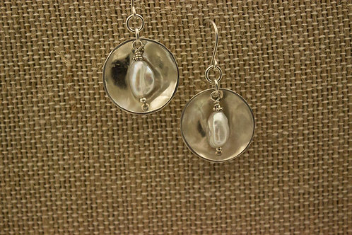 Sterling Silver and Baroque Freshwater Pearl Earrings