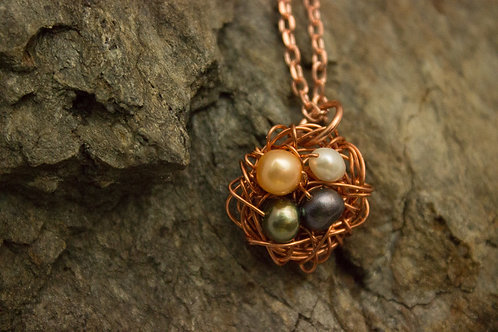 Copper Birdsnest Necklace with Freshwater Pearls