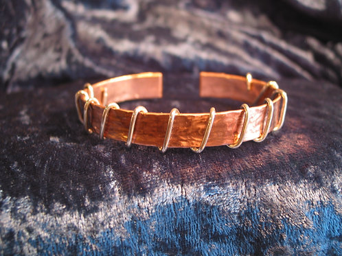 Hammered Copper Bracelet with Sterling Silver Wrap
