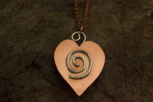 Copper Heart with Sterling Silver Swirl