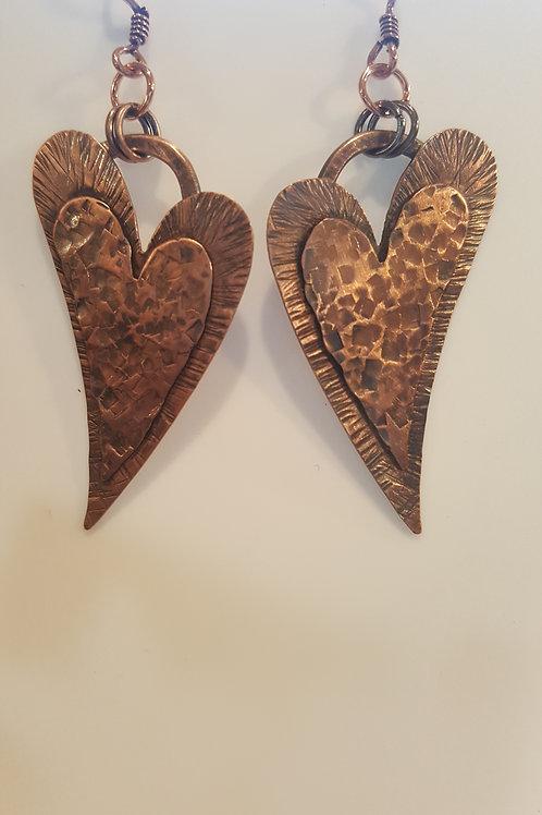 Hammered Copper Offset Heart Earrings
