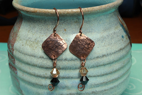 Hammered Copper Square Earrings with Black/Champagne Crystal Drops