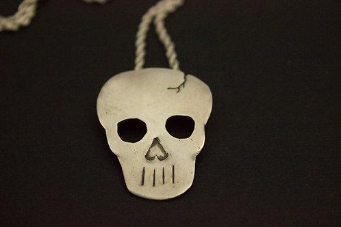 Sterling Silver Cracked Skull