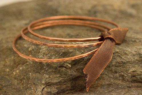 Textured Copper Bangles, Set of 3