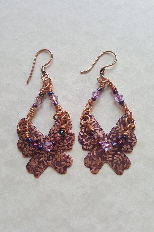 Patterned copper butterfly earrings with crystal 'choker'