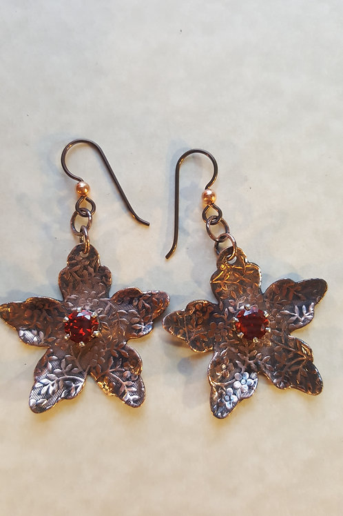 Patterned Copper Flowers with Red CZ stone