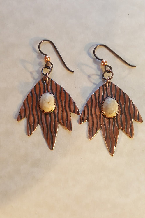 Patterned Copper Blaze Earrings with Dendritic Agate Stones