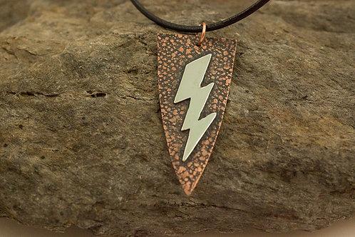 Silver Lightning Bolt on Patterned Copper Necklace