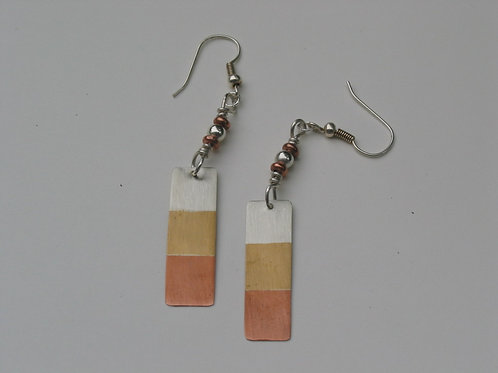 Copper, Brass and Silver Long Rectangle Earrings