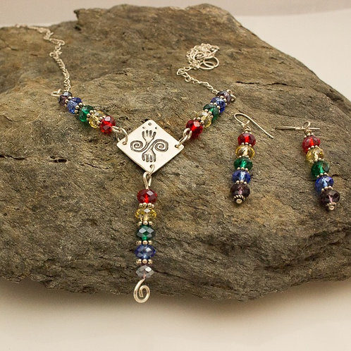 Fine Silver and Sterling Silver Rainbow Necklace and Earrings
