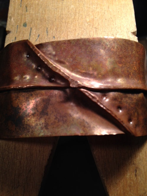 Foldformed copper cuff with embossing