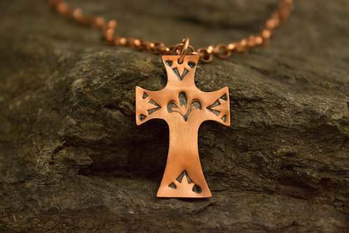 Large Stamped Copper Cross