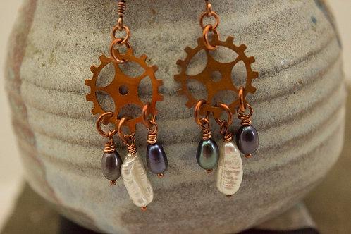 Copper Gear Earrings with freshwater pearl drops