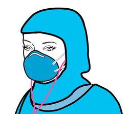 3. Pull PPE hood over ear buds