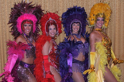 Colorful Las Vegas themed Showgirls at a corporate Casino Party event.