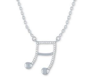 Diamond Music Note Pendant Necklace
