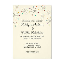 MidCentury Modern Retro Vintage Style Wedding Invitation
