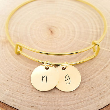 Personalized Bangle - Custom Initial Bracelet in Gold, Silver, or Rose Gold