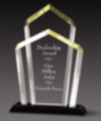 Twin Column Acrylic Award with Black Mirror Base