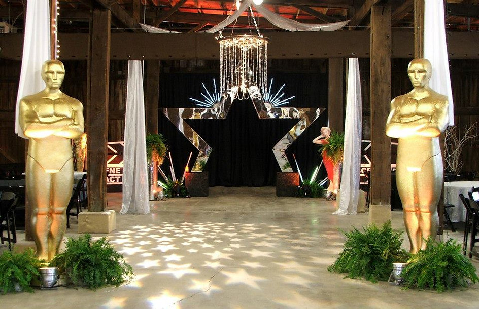 Award Ceremony Decor, Star, Gold Statues, Hollywood Decor.