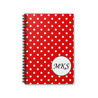 Spiral Notebook - Ruled Line (Polka Dots - Personalization)