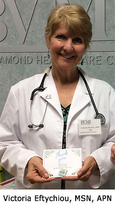Volunteer Victoria Eftychious has been volunteering at the Lynn Diamond Healthcare Center for six years.