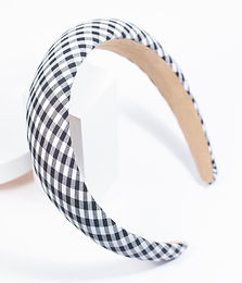 Black & White Plaid Print Plush Headband