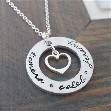 Personalized Necklace With Kids Names - with center Heart
