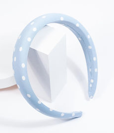 Light Blue & White Polka Dot Plush Headb