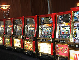 Slot Machines Lined up for Play at a Casino Party in Nashville, TN.