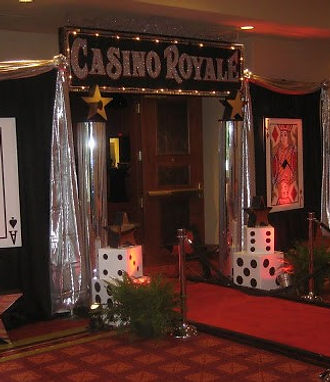 Casino Themed Entrance Decor with Red Carpet and Casino Sign