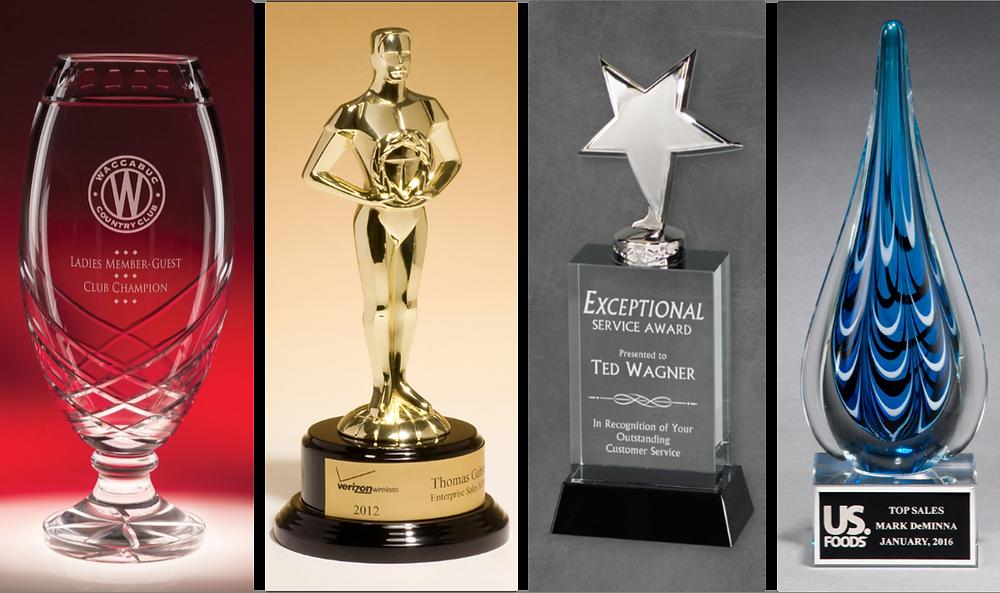 Crystal Vase, Oscar Style Award, Star Crystal Award, Blue Art Glass Award