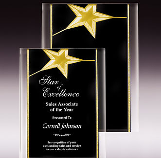 Gold Star Plaque in Black and Gold