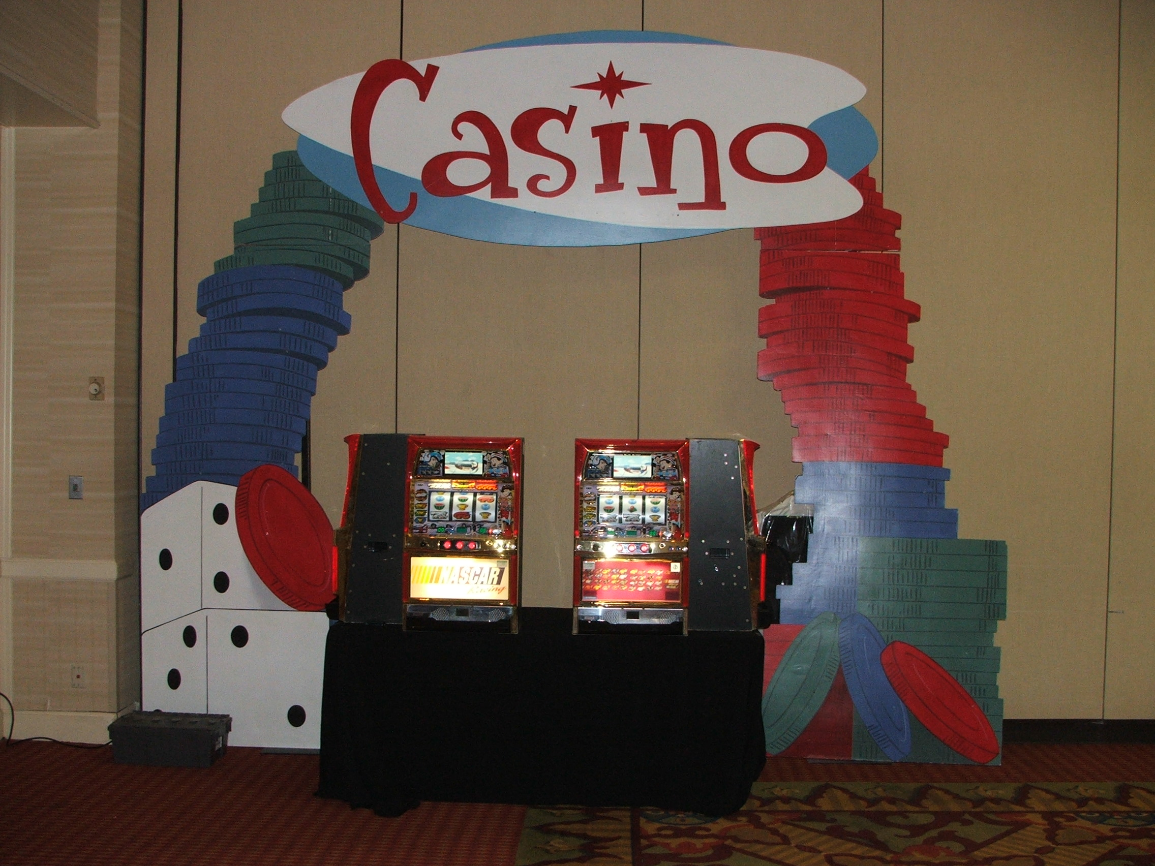 Casino Party Decor and Slot Machines
