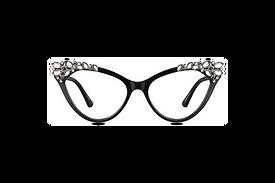 Glamorous Cat-Eye Sunglasses with Jewel Embellishments.   Available in jet black and tortoiseshell.
