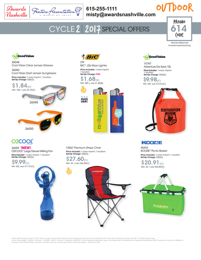 Outdoor Promotion Flyer with Sunglasses, Misting Fan, Folding Lounge Chair and Picnic Basket