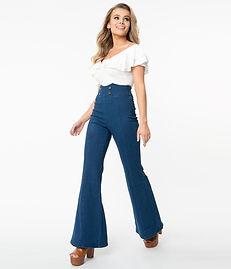 1960s Medium Denim Blue High Waist Flare Jeans