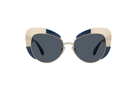Wide frame cat eye sunglasses with a cool perforated metal design in gold with navy blue accents.