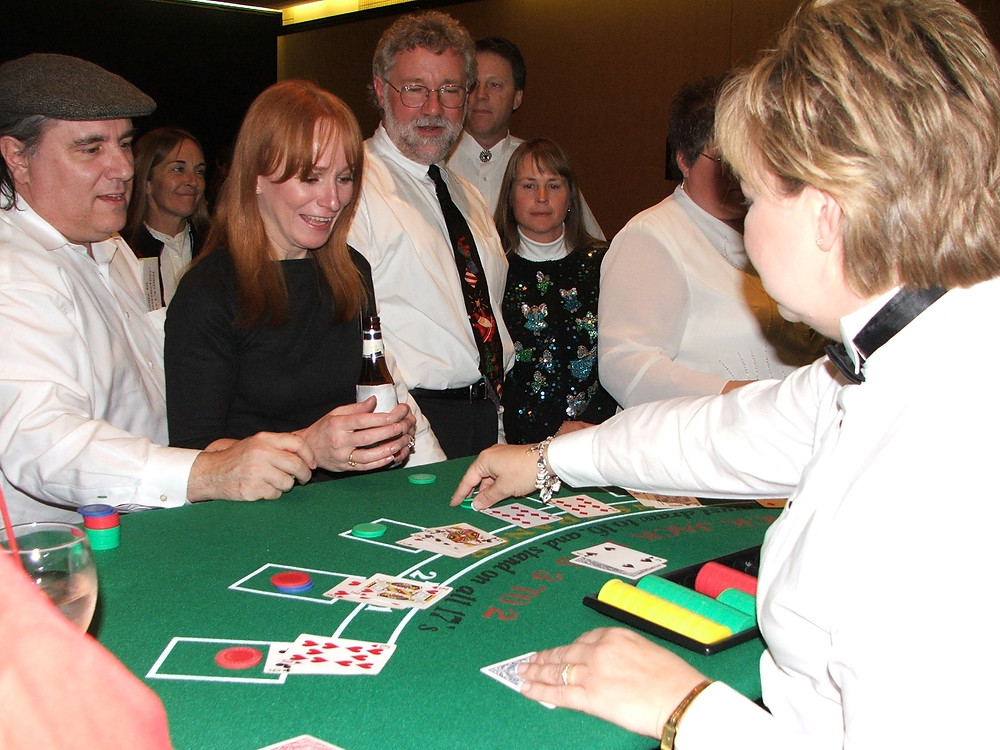 Guests playing Blackjack at a Nashville Casino Party