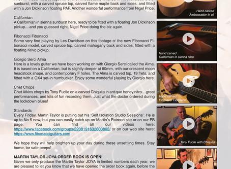 FIBONACCI GUITARS APRIL NEWSLETTER!