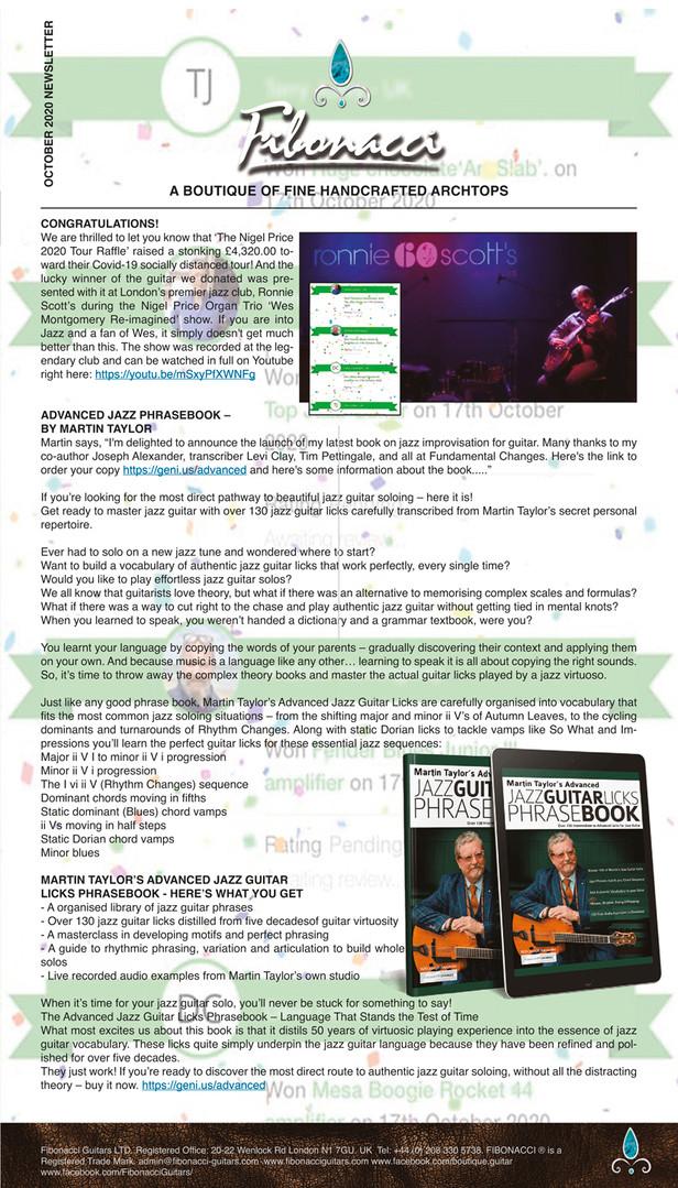 FIBONACCI GUITARS OCTOBER 2020 NEWSLETTE
